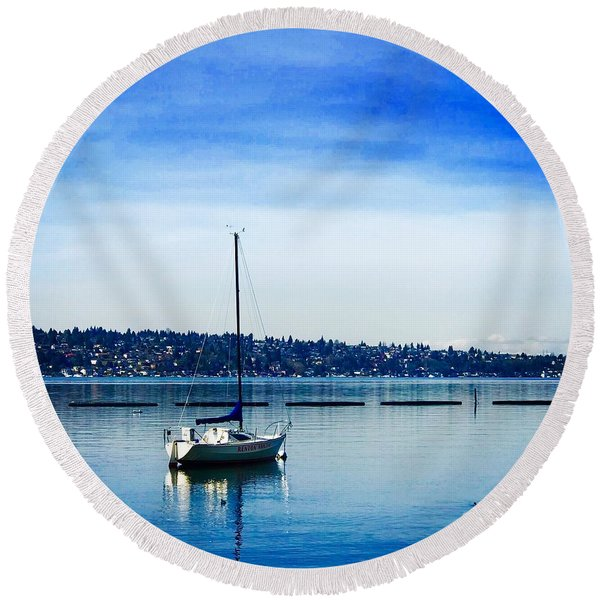 Peaceful Day In Blue Round Beach Towel