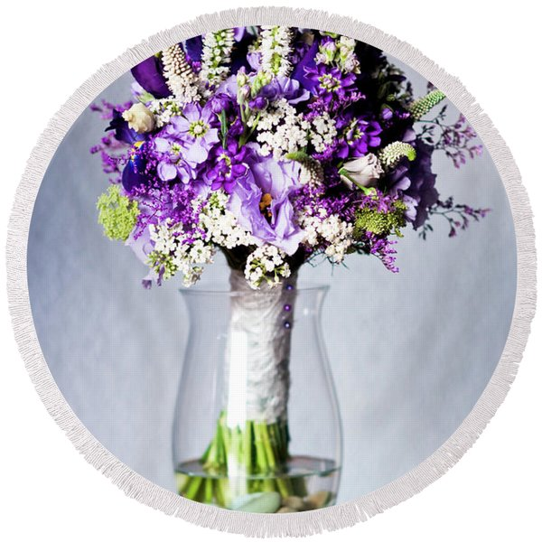 Perfect Bridal Bouquet For Colorful Wedding Day With Natural Flowers. Round Beach Towel