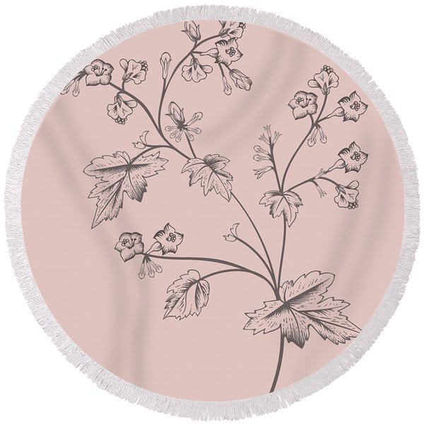 Phacelia Blush Pink Flower Round Beach Towel
