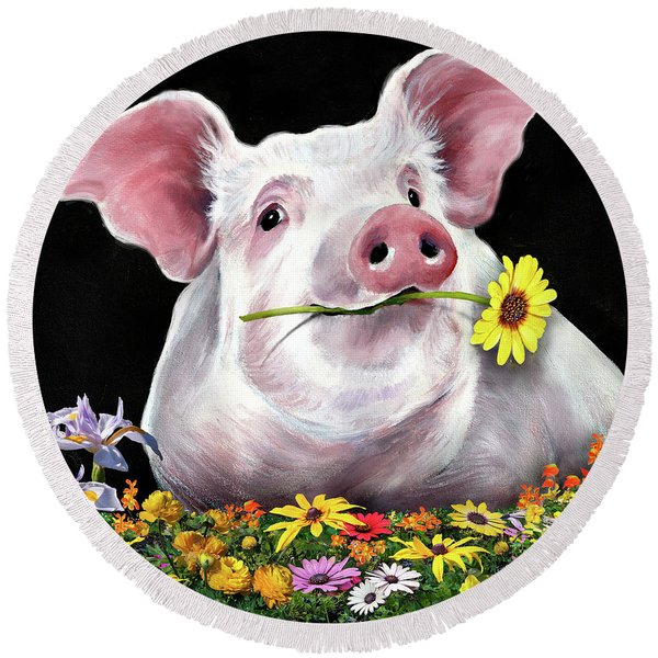 Pig With Flowers Round Beach Towel