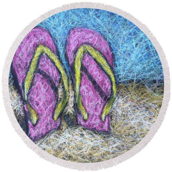 Pink Flip Flops Round Beach Towel