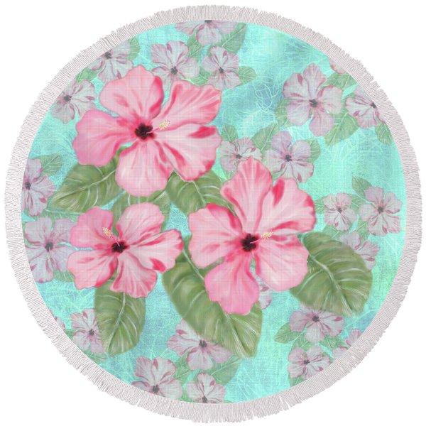 Pink Hibiscus Print On Aqua Round Beach Towel