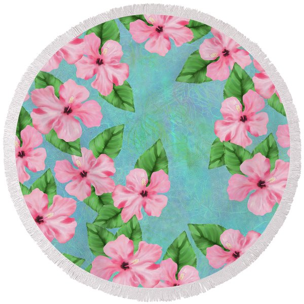Pink Hibiscus Tropical Floral Print Round Beach Towel