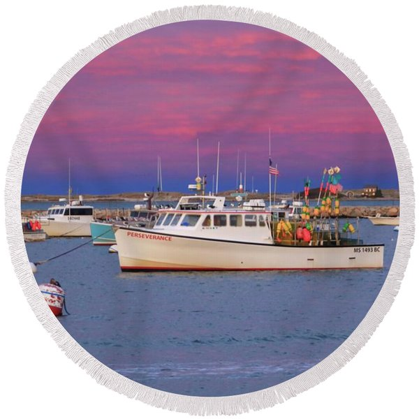Pink In Plymouth Round Beach Towel