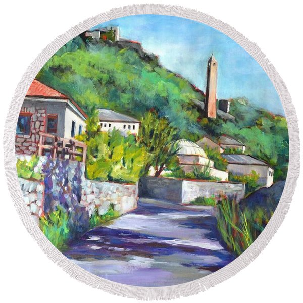 Pocitelji - A Heritage Village In Bosina Round Beach Towel
