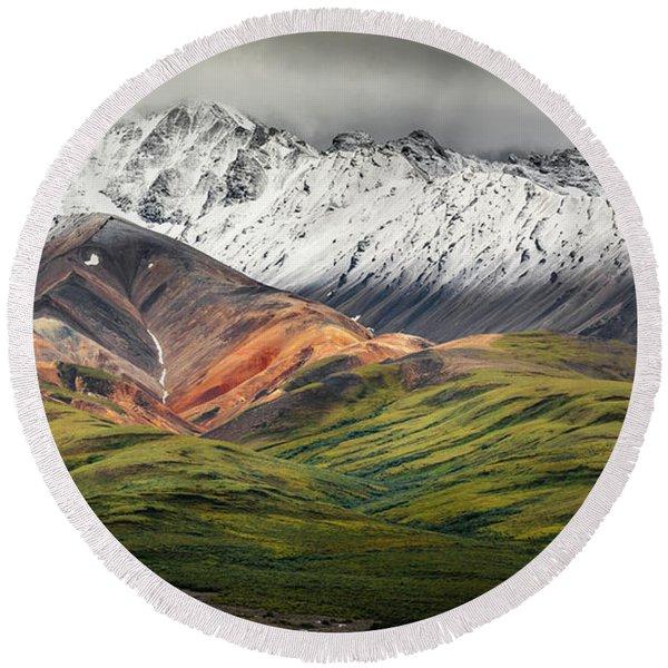 Polychrome Mountain, Denali Np, Alaska Round Beach Towel
