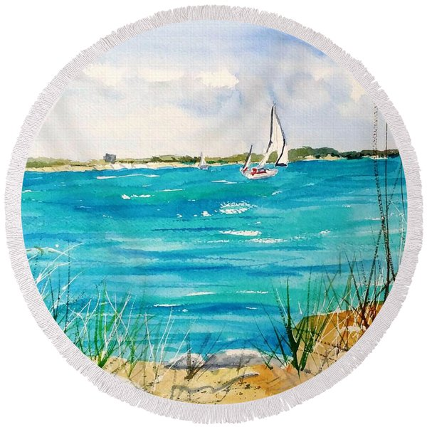 Ponce Inlet Round Beach Towel