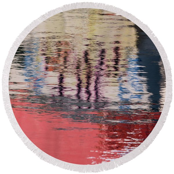 Port Reflections Round Beach Towel