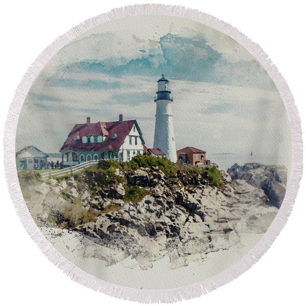 Portland Head Lighthouse Cape Elizabeth Maine Round Beach Towel