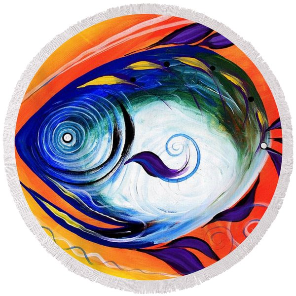 Positive Fish Round Beach Towel