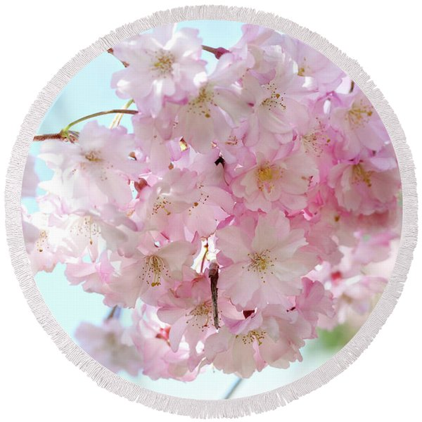 Pretty Pink Blossoms Round Beach Towel