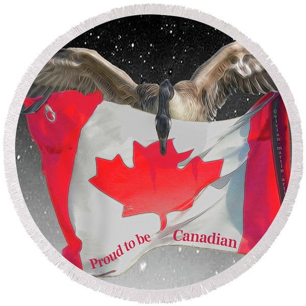 Proud To Be Canadian Round Beach Towel