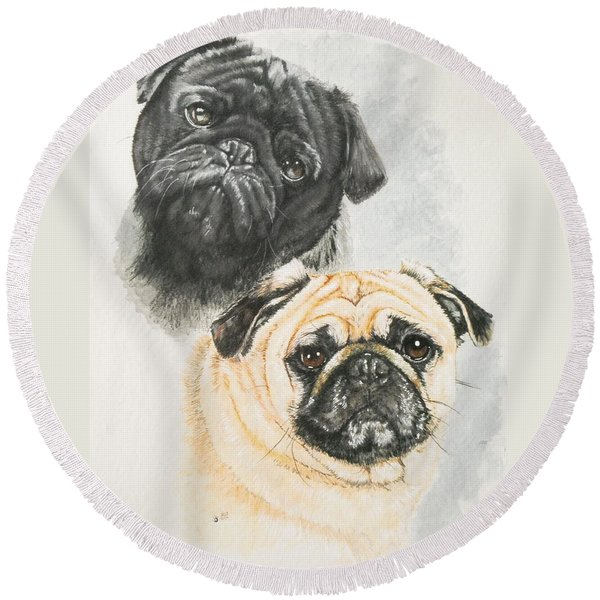 Pug Brothers In Watercolor Round Beach Towel