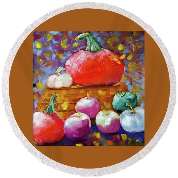 Pumpkins And Apples Round Beach Towel
