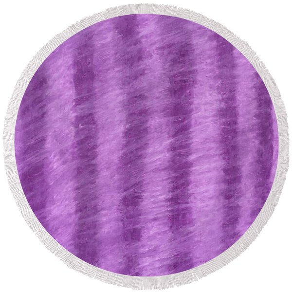 Purple Hazy Nights Round Beach Towel