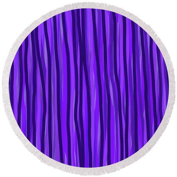 Purple Lines Round Beach Towel
