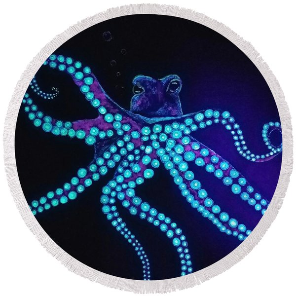Purple Octopus  Round Beach Towel