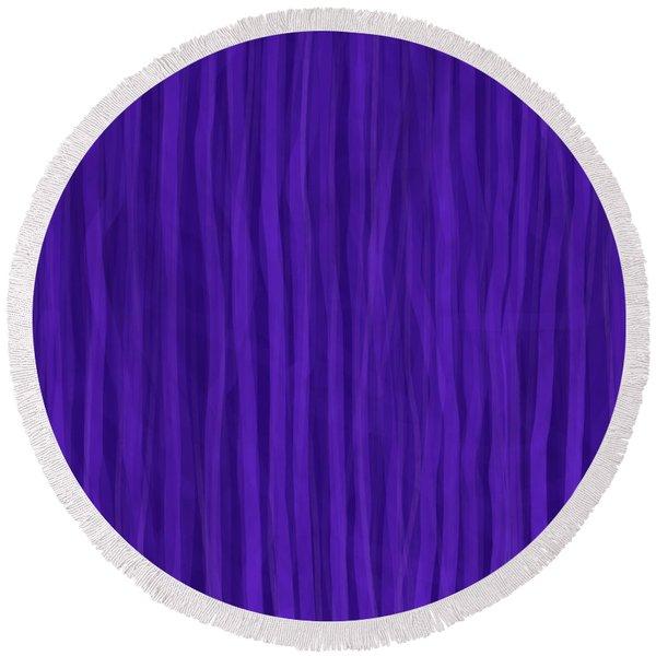 Purple Stripes Round Beach Towel