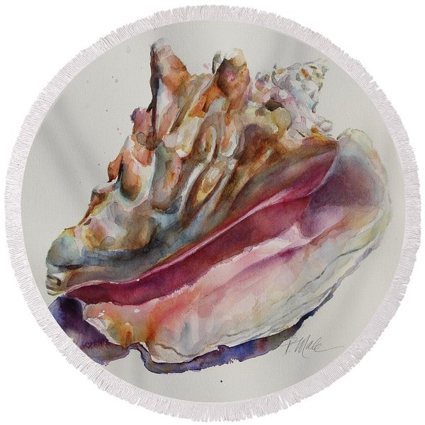 Queen Conch Shell Round Beach Towel