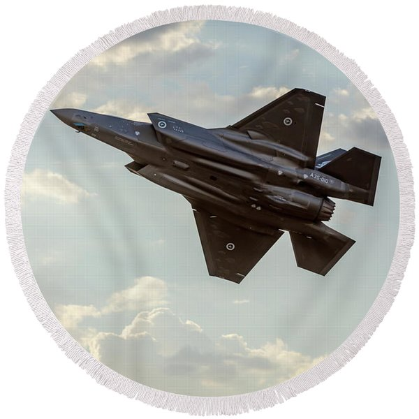 Raaf F-35a Lightning II Joint Strike Fighter Round Beach Towel