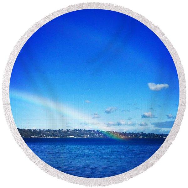Rainbow In Blue Round Beach Towel