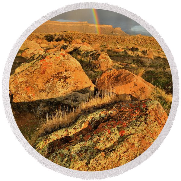 Rainbow Over The Book Cliffs Round Beach Towel