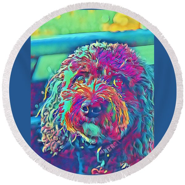 Rainbow Pup Round Beach Towel