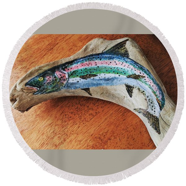 Rainbow Trout #1 Round Beach Towel