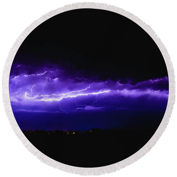 Rays In A Night Storm With Light And Clouds. Round Beach Towel