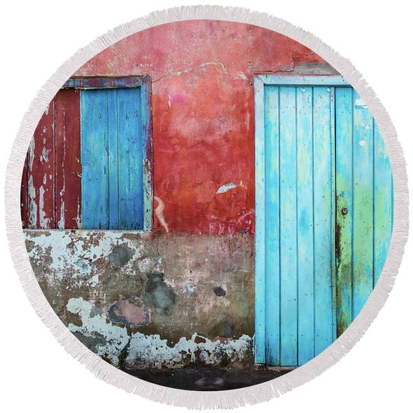 Red, Blue And Grey Wall, Door And Window Round Beach Towel