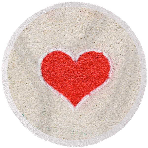 Red Heart Painted On A Wall, Message Of Love. Round Beach Towel