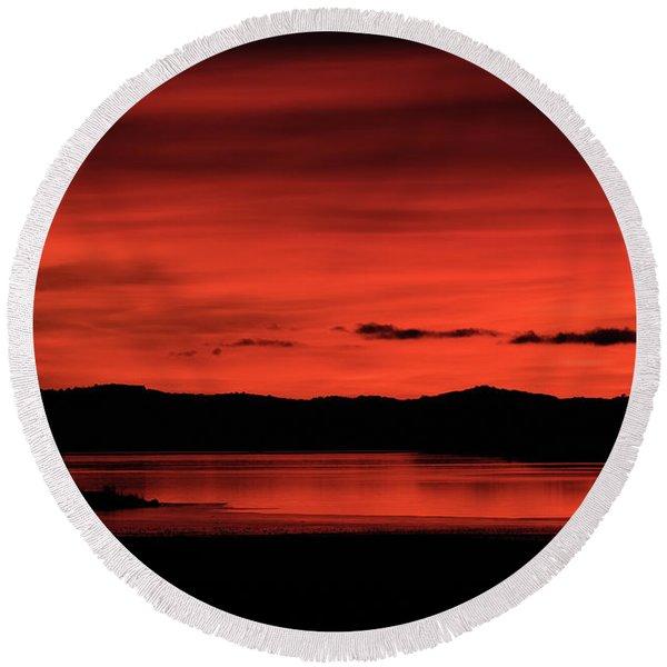 Red Sunset Round Beach Towel