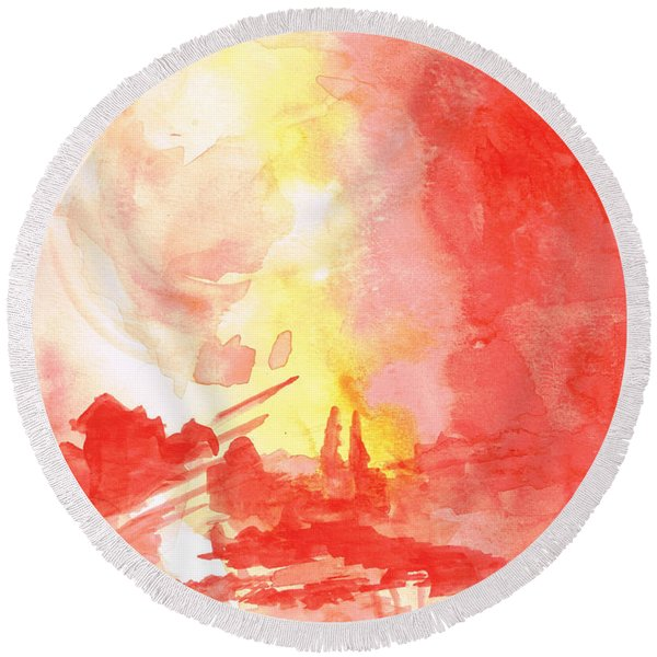 Red Village Abstract 1 Round Beach Towel