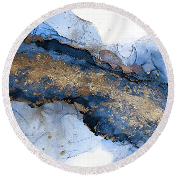 River Of Blue And Gold Abstract Painting Round Beach Towel