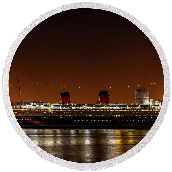 Rms Queen Mary Round Beach Towel