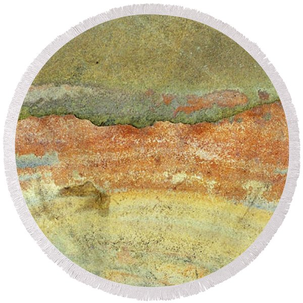 Rock Stain Abstract 2 Round Beach Towel