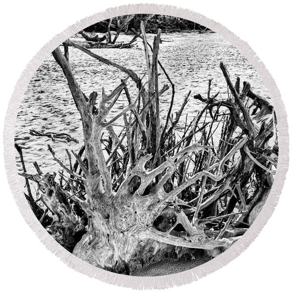 Rooted In Black And White Round Beach Towel