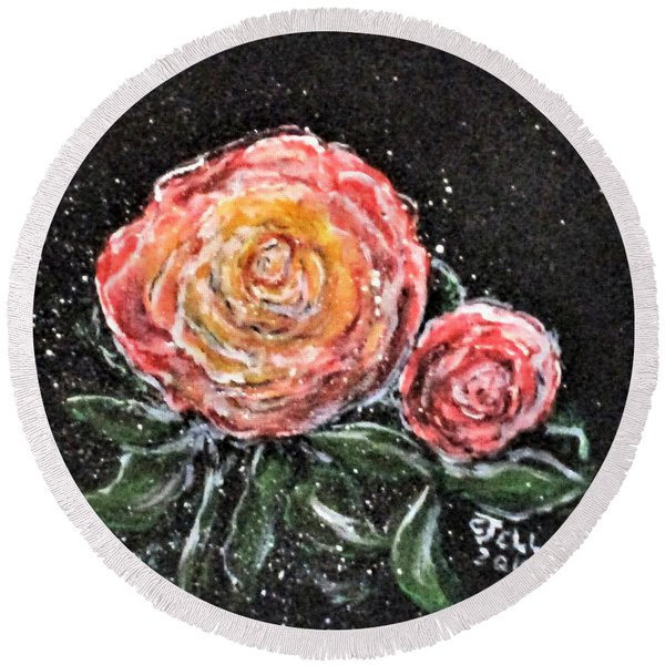 Rose In Light Round Beach Towel