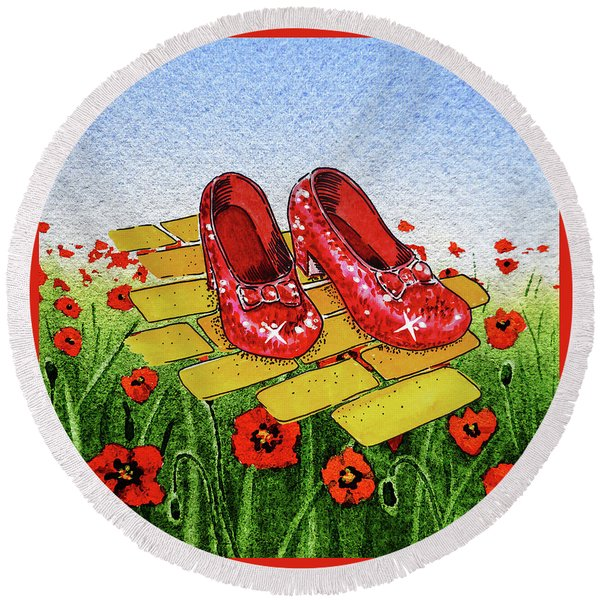 Ruby Slippers Yellow Brick Road Wizard Of Oz Round Beach Towel