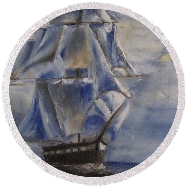 Sail The Seas Round Beach Towel