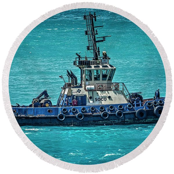Salvage Tug Boat Round Beach Towel