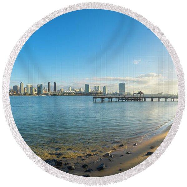 San Diego Bay - Panorama Round Beach Towel