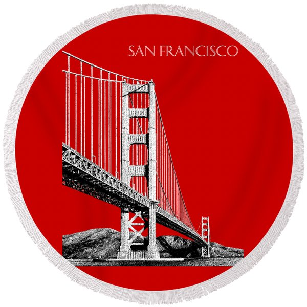 San Francisco Skyline Golden Gate Bridge 2 - Slate Blue Round Beach Towel