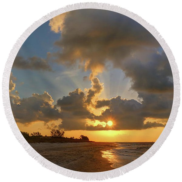 Sanibel Island Sunrays Round Beach Towel