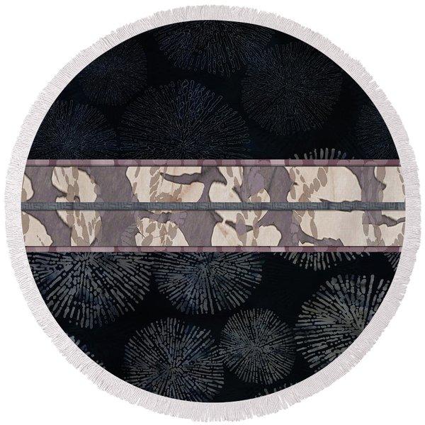 Sea Urchin Contrast Obi Print Round Beach Towel