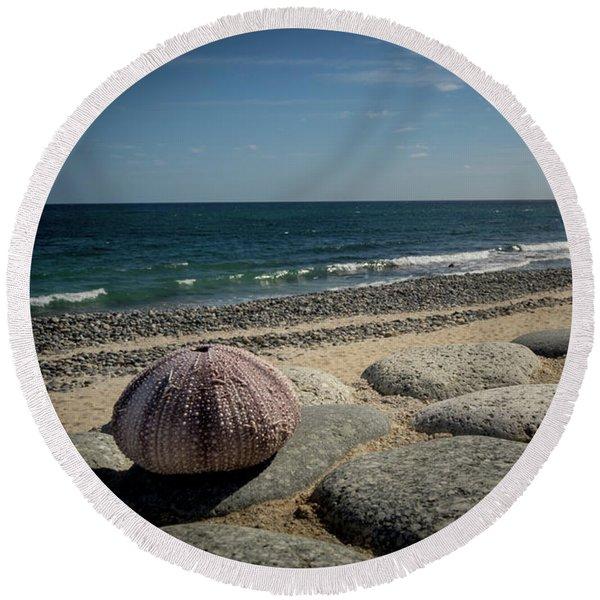 Sea Urchin View Round Beach Towel
