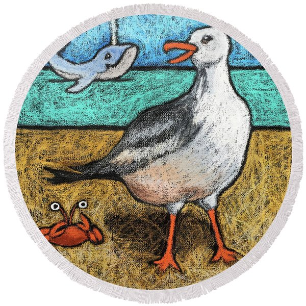 Seagull And Friends Round Beach Towel