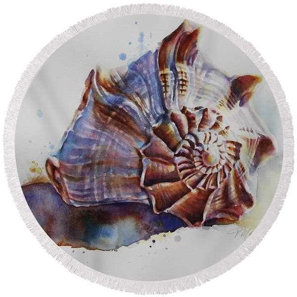 Seashell Swirl Round Beach Towel