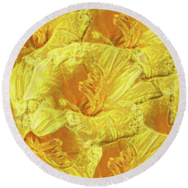 Selective Yellow Lilies Round Beach Towel