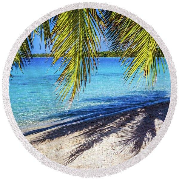 Shadows On The Beach, Takapoto, Tuamotu, French Polynesia Round Beach Towel